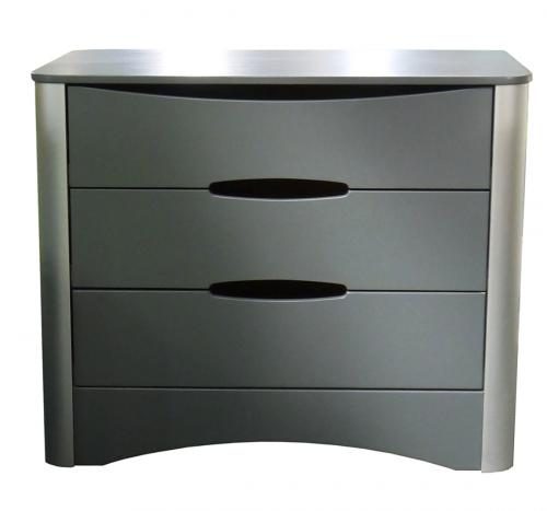 COMMODE 3 TIROIRS  PROFILES EN ALUMINIUM ANODISE COLLECTION FUSION