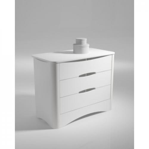 COMMODE 3 TIROIRS  PROFILES EN ALUMINIUM LAQUE BLANC COLLECTION FUSION